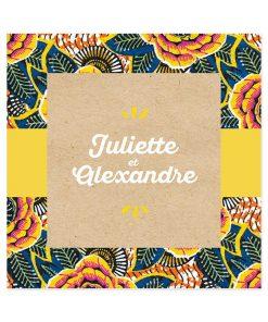 Faire part mariage Africain motif de wax directement inspiré de la mode ethnique chic d'Afrique.