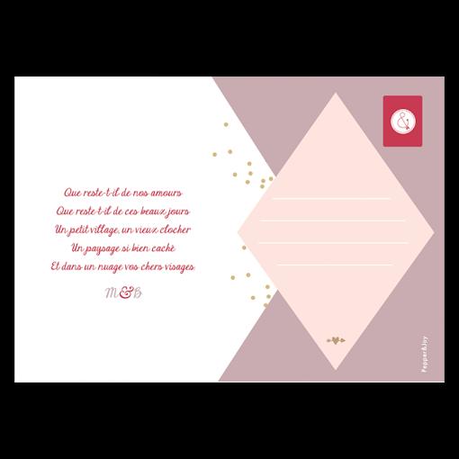 carte remerciements mariage moderne carte postale design sobre avec photo.