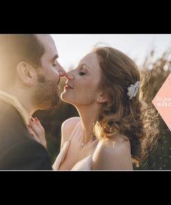 carte remerciements mariage avec photo. Merci sur fond rose. Carte postale ou carte avec enveloppe.