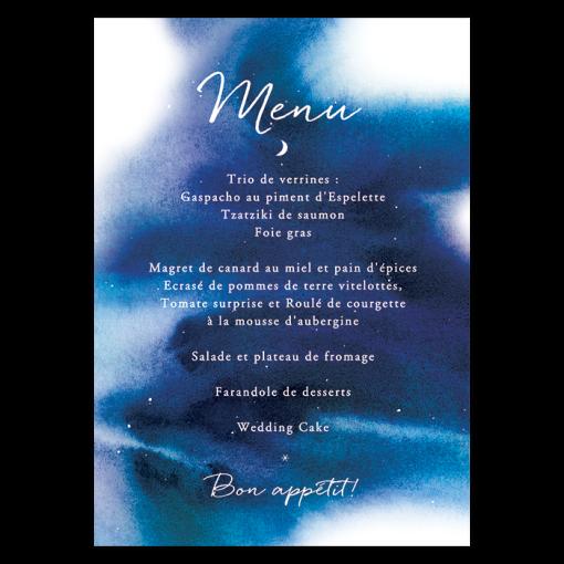 Menu de mariage thème univers, étoiles, nuit , lune et constellation. Votre menu de mariage personnalisé et imprimé.