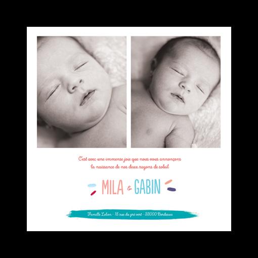 Faire-part naissance jumeaux garçon et fille. Couleurs personnalisées
