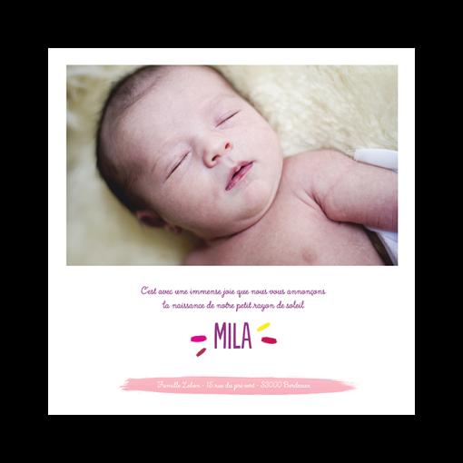 Faire part photo Mila, arc en ciel. Couleurs roses et violet.