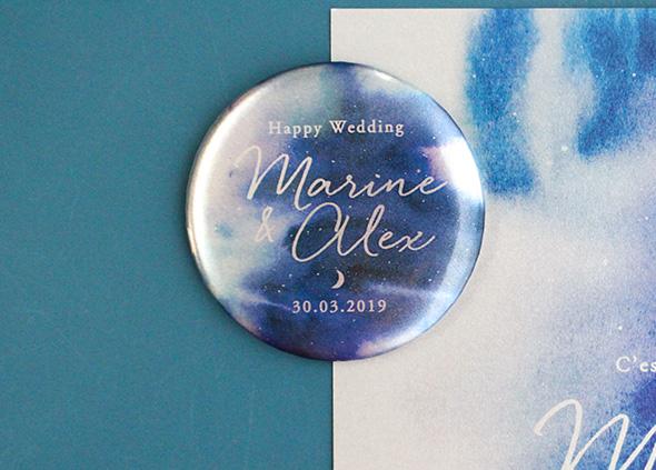 badge magnet mariage nuit étoilée, effet métal, save the date aimant