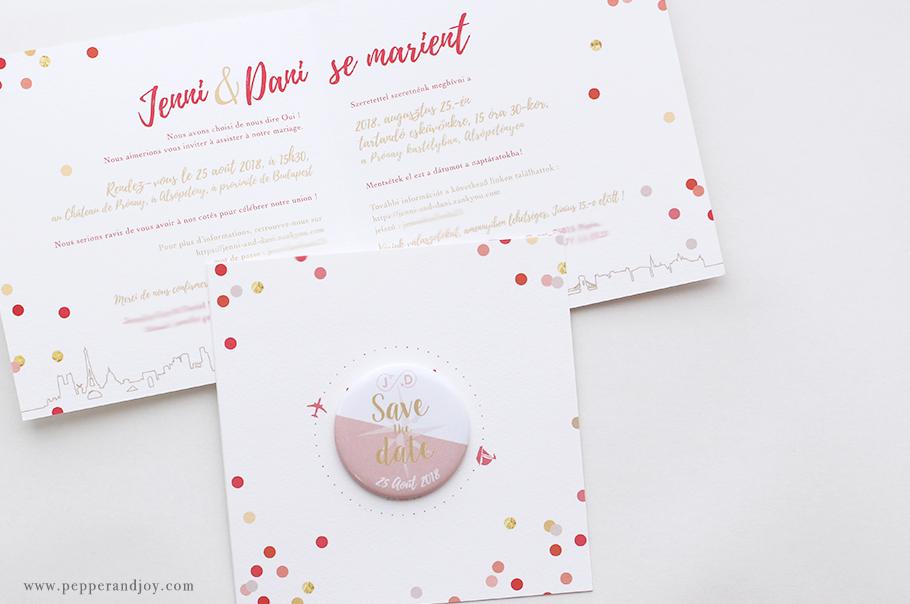 Faire part mariage sur mesure. Thème du voyage. magnet save the date. Motif avion et bateau. Invitation mariage bilingue.