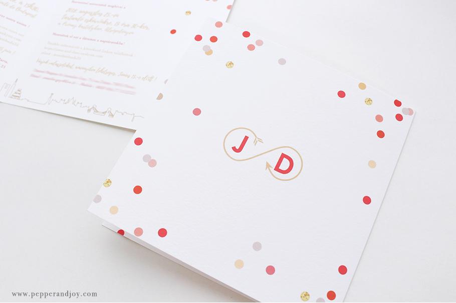 faire part mariage sur mesure. Thème voyage avec logo des mariés. Décor confettis.