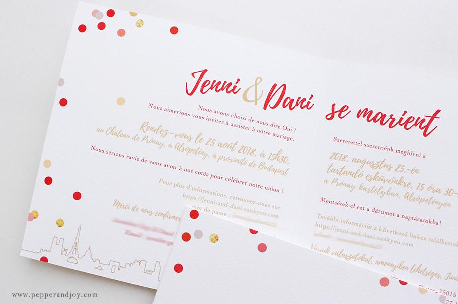 faire part mariage bilingue livret 4 pages franco hongrois.