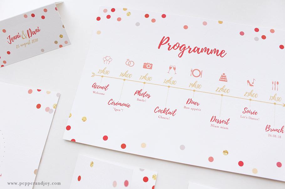 programme mariage imprimé avec icones; création mariage sur mesure Pepper & Joy
