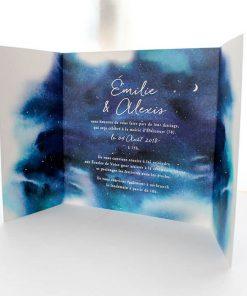 invitation mariage ciel étoilé. Livret avec ouverture au centre. Faire part mariage nuit.