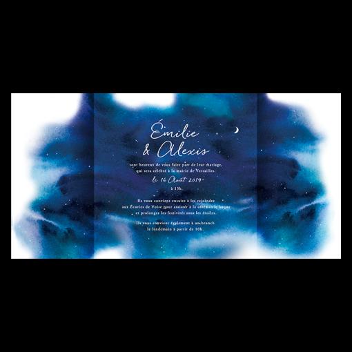 Invitation Mariage Nuit étoilée, pages intérieures avec aquarelle, étoiles, lune et ciel bleu nuit.