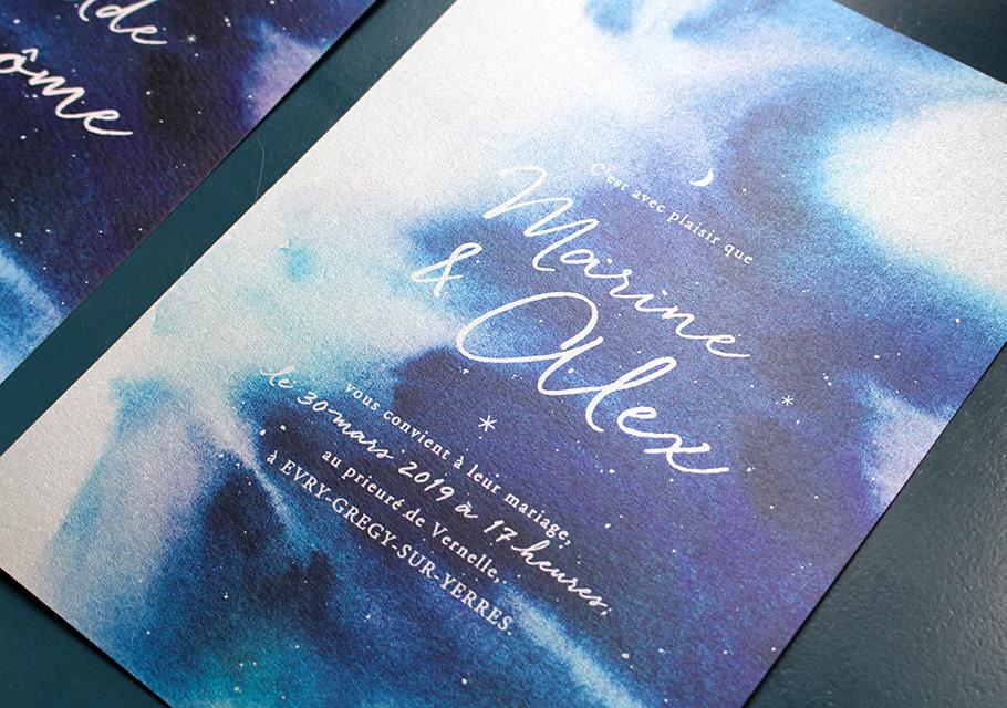 Invitation mariage bleue, nuit étoilée, ciel et étoile avec lune