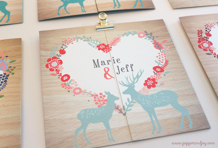 faire part mariage montagnard, biche et cerfs Coeur avec fleurs de montagne.