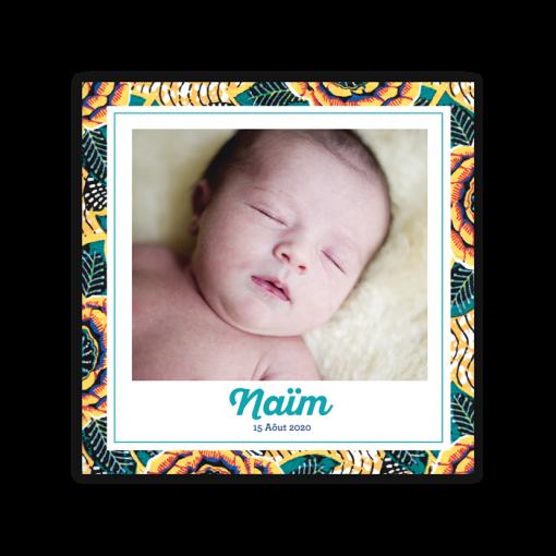 faire part naissance garcon motif wax afrique ethnique chic; 2 photos pour montrer fratrie