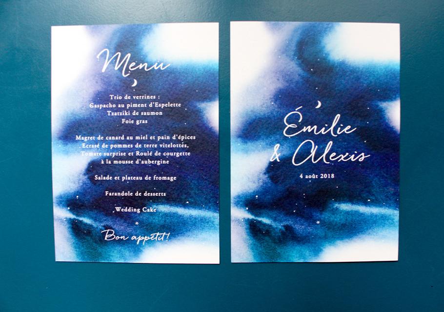 Menu de mariage bleu aquarelle.Ciel nuit étoiles et Lune.