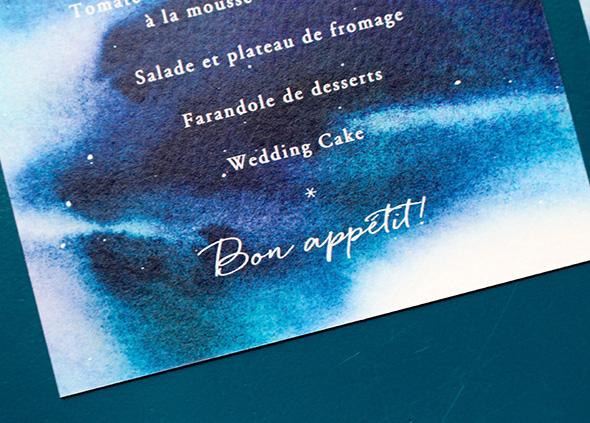 Menu mariage étoiles, ciel de nuit. Bon appétit écriture manuscrite; Menu personnalisé et imprimé mariage.