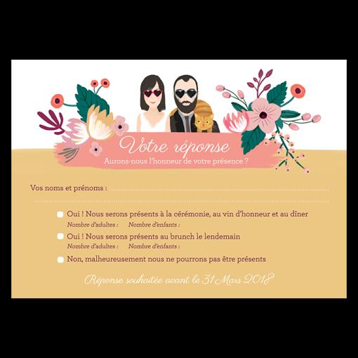 Carton réponse carte postale faire-part mariage avec illustration portrait dessin des mariés.