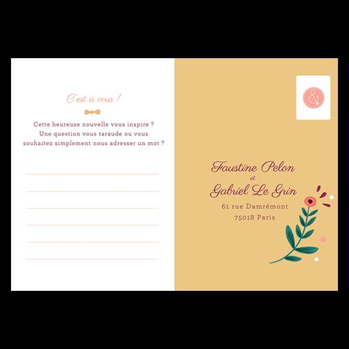 Carton réponse rsvp Invitation mariage sous forme de carte postale.