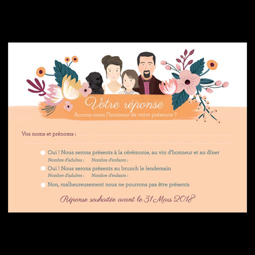 carton réponse invitation mariage avec dessin portrait des mariés. Coupon réponse