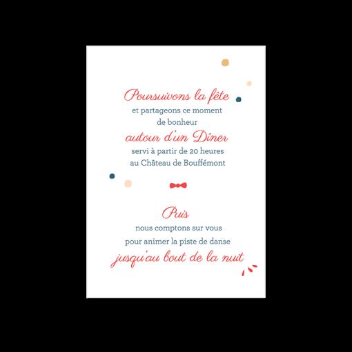 Petit carton invitation au diner reception de mariage. la solution pour ne pas inviter tous le monde au dîner de mariage et faire le tri de ses invités.