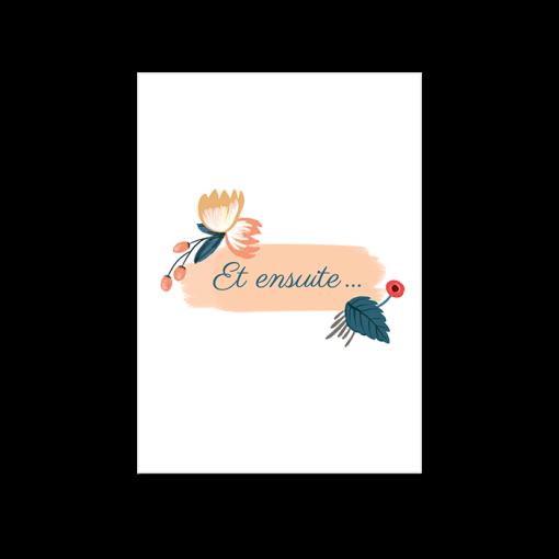 Petit carton supplémentaire invitation mariage. Fleurs aux couleurs personnalisables.