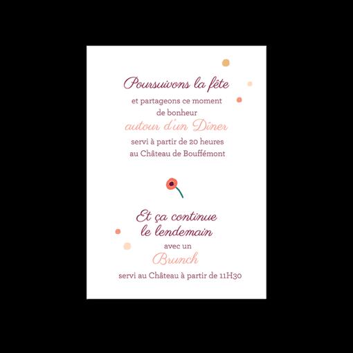 Carton diner de mariage invitation avec portrait des mariés personnalisé.