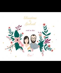 save the date de mariage avec dessin portrait des mariés réalisé d'après photo. décor de fleurs.