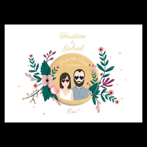 Carton save the date mariage avec dessin illustration portrait des mariés. magnet rond badge aimanté assorti
