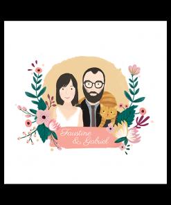 Faire part mariage avec illustration portrait dessin des mariés. Mariés avec leur chat.