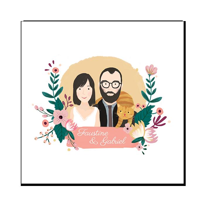 Faire Part De Mariage Portrait Des Maries Sur Mesure Decor Floral