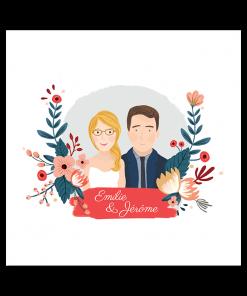 faire part mariage portrait des mariés avec fleurs à l'aquarelle