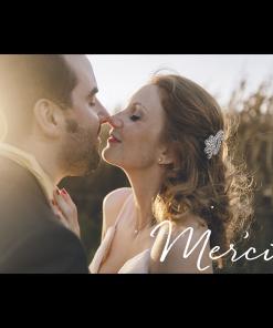 Carton remerciements mariage nuit étoilée avec lune sur grande photo.