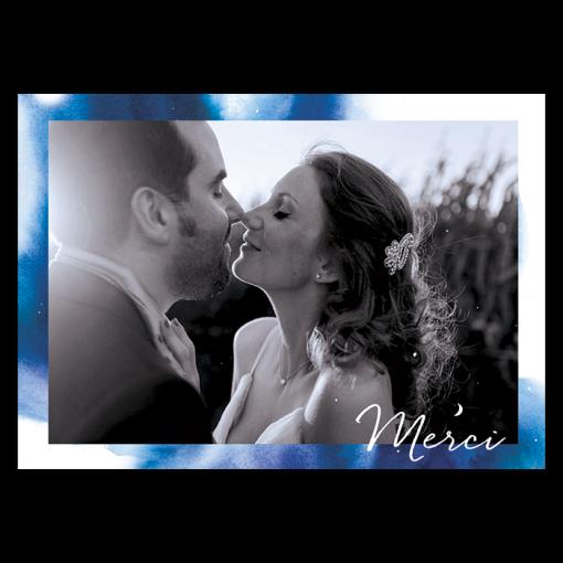 Carte remerciements mariage thème nuit étoiles, lune et constellation avec photo des mariés.
