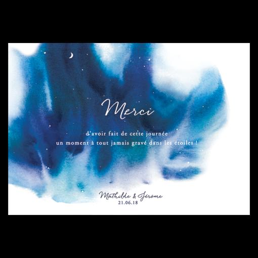 carte remerciement mariage avec fond nuit étoilée. Aquarelle bleu foncée et turquoise pour remercier les invités de leur présence.