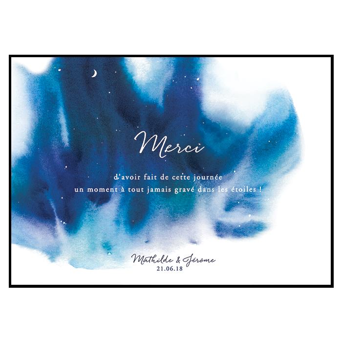 Carte Remerciements Mariage Avec Photo Thème Nuit étoilée