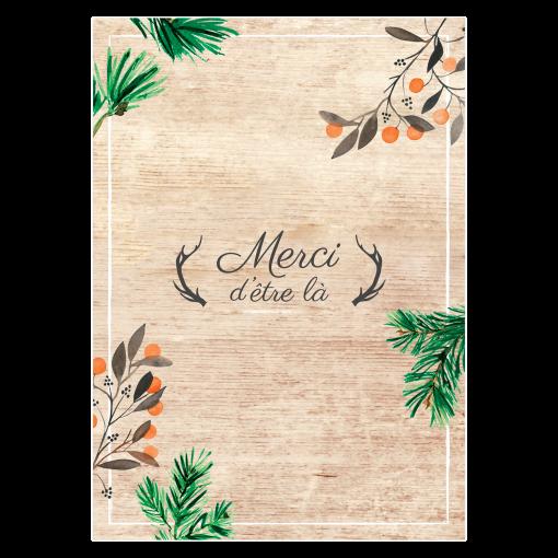 Menu de mariage imprimé fond bois. Cerfs, pins et pignes.