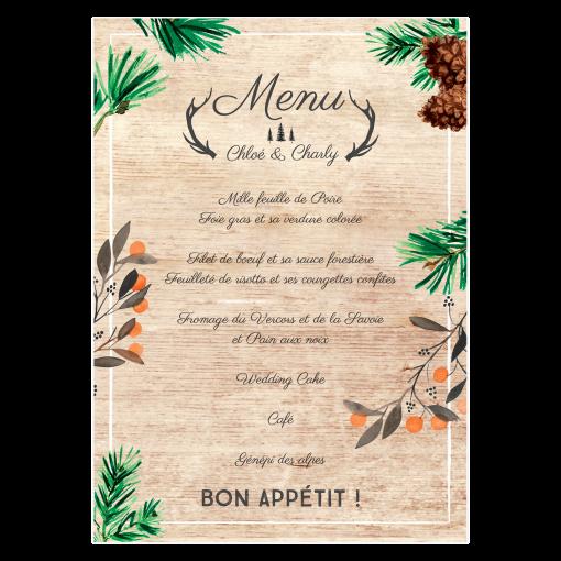 Menu mariage personnalisé, fond bois. Ambiance montagnarde pour décoration de table de mariage.