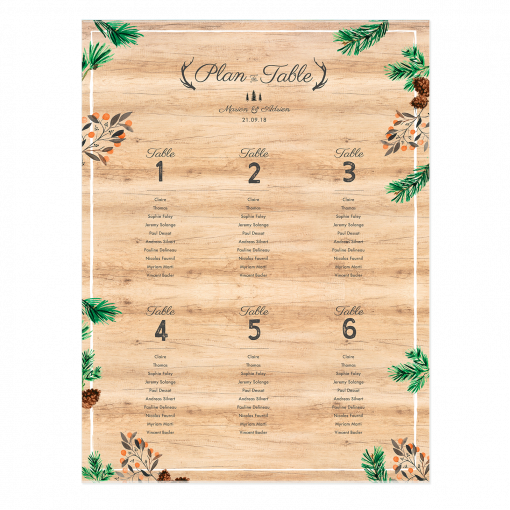 Plan de table mariage imprimé. Poster plan de table personnalisé. Décor fond bois, branches de sapins et pignes de pin. Fleurs de montagne. Plan de table mariage montagnard Nature.
