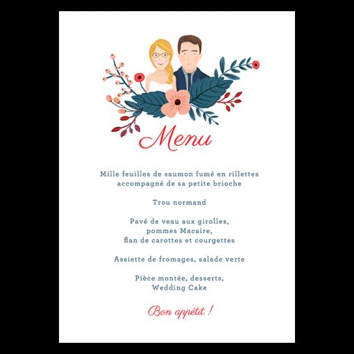 menu de mariage imprimé avec le dessin des portraits de mariés.