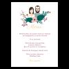 menu mariage personnalisé avec portrait des mariés. Illustration des mariés imprimée sur le menu de mariage