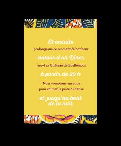 Carton invitation au repas et fete mariage. Retour du lendemain. Mariage thème ethnique afrique et wax.