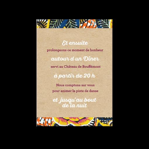 Petit carton invitation au repas et brunch mariage. Exemple texte invitation brunch mariage africain. Thème wax