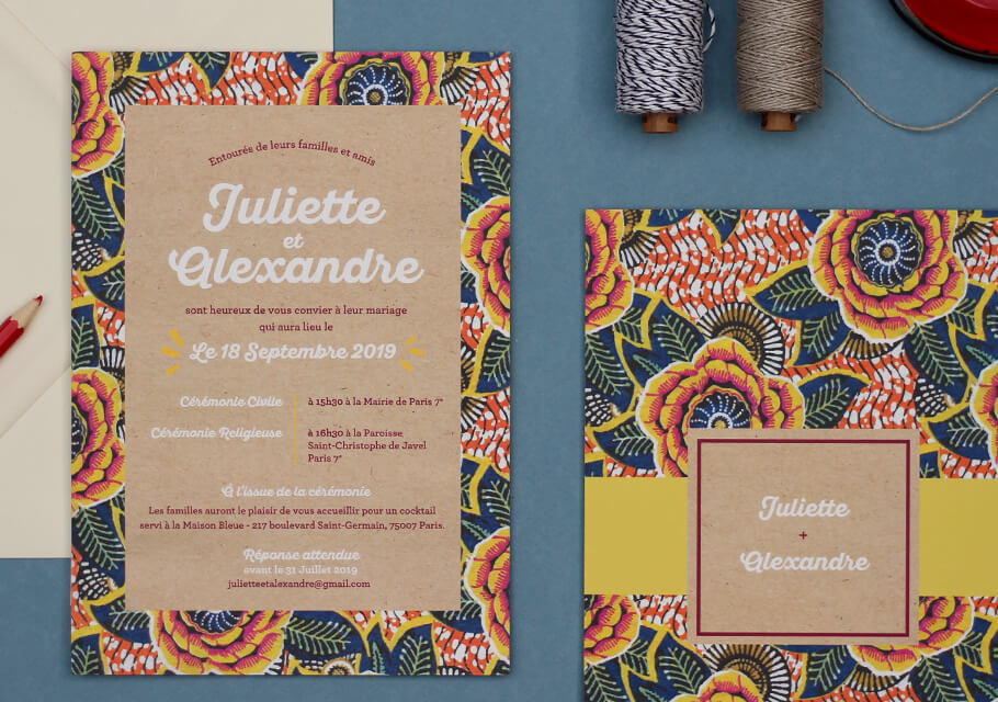 invitation mariage afrique chic motif afro wax