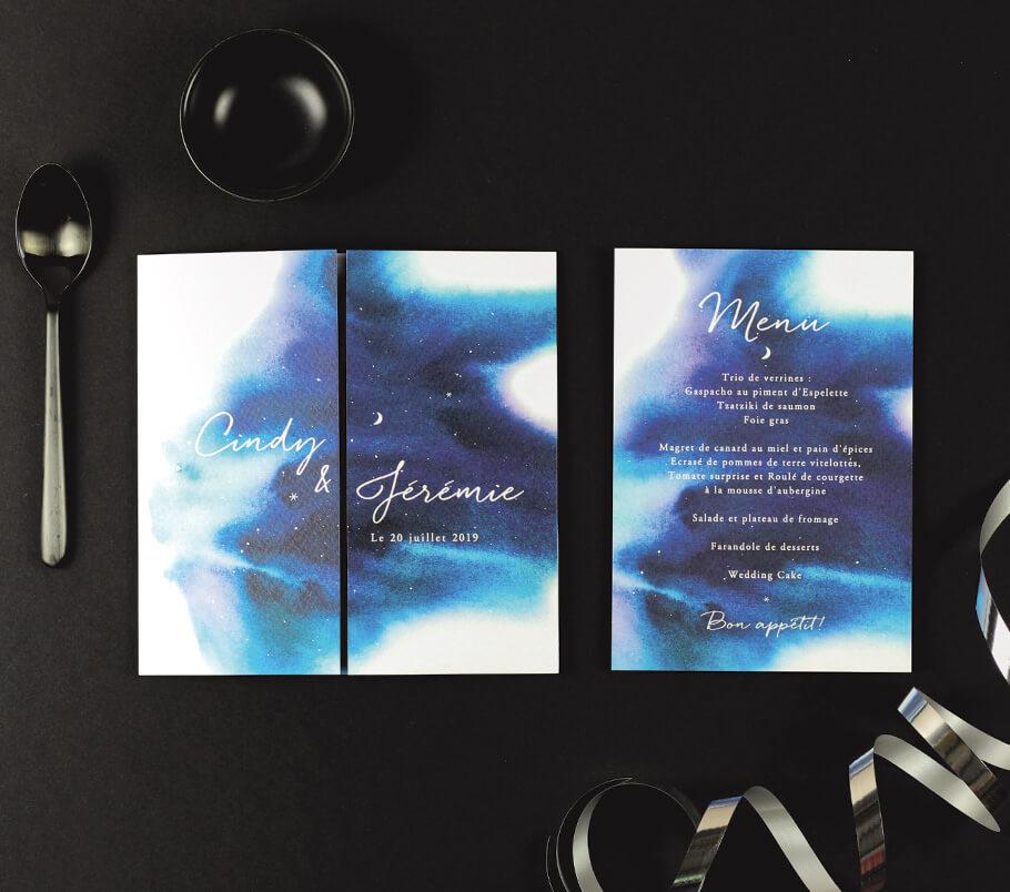 faire-part mariage nuit étoilée, fond aquarelle. invitation livret et menu aquarelle avec étoiles.