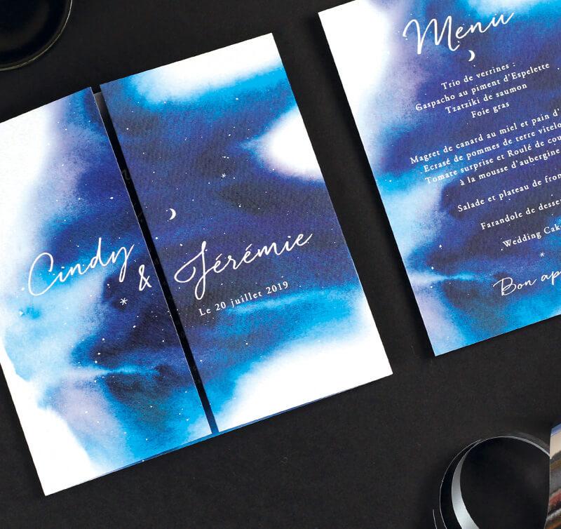 Carton invitation mariage nuit étoilée. thème mariage sous les étoiles, lune et ciel de nuit. Menu mariage imprimé.