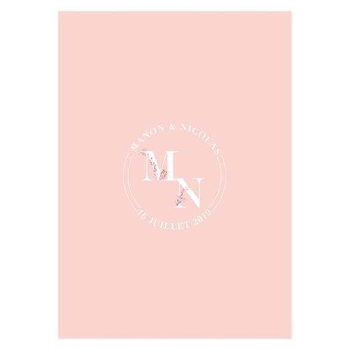 menu mariage rose pale. Mariage romantique bohème, logo des mariés.