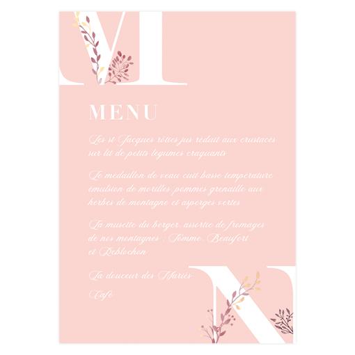 Menu mariage imprimé avec initiales des mariés et logo des mariés. Fleurs aquarelle.