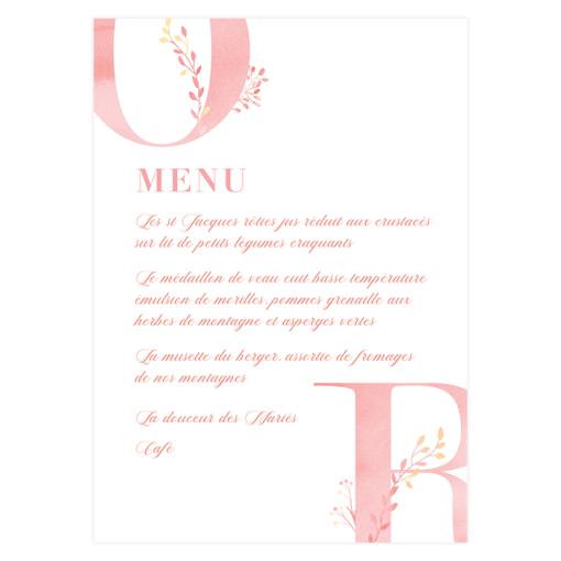 Menu imprimé mariage, rose aquarelle, fleurs champêtre.