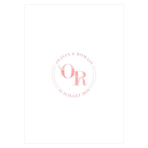 Menu mariage imprimé, rose aquarelle. Fleurs bohèmes