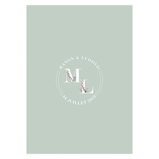 Menu mariage personnalisé bohème chic, motif fleurs à l'aquarelle avec initiales des mariés