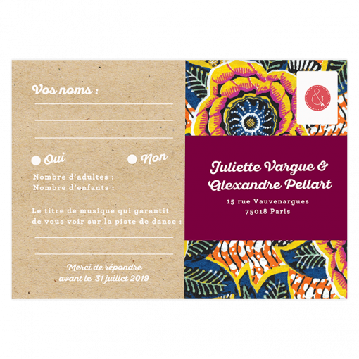 Carton réponse mariage, carte postale wax, thème mariage africain