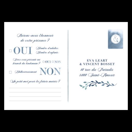 Carton réponse invitation mariage romantique. Style aquarelle et questionnaire pour invités.